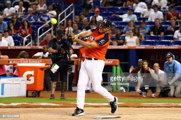 Al Leiter bats during the AllStar and Legends Celebrity Softball Game at Marlins Park on Sunday July 9 2017 in Miami Florida