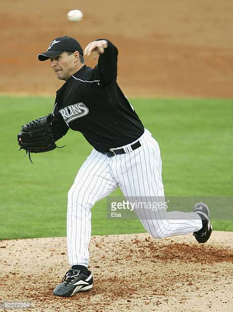 Al Leiter of the Florida Marlins delivers a pitch at Roger Dean Stadium on March 3 2005 in Jupiter Florida The Baltimore Orioles defeated the Florida...