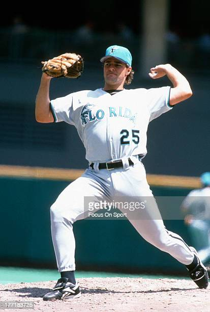 Al Leiter of the Florida Marlins pitches against the Philadelphia Phillies during an Major League Baseball game circa 1996 at Veterans Stadium in...