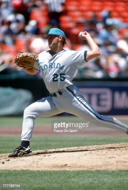 Al Leiter of the Florida Marlins pitches against the San Francisco Giants during an Major League Baseball game circa 1996 at Candlestick Park in San...