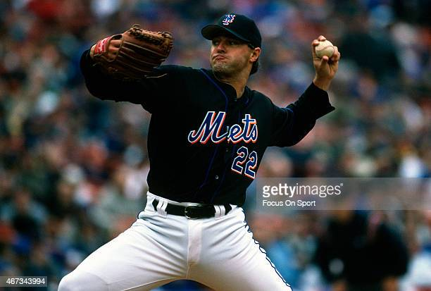 Al Leiter of the New York Mets pitches during an Major League Baseball game circa 2002 at Shea Stadium in the Queens Borough of New York City Leiter...