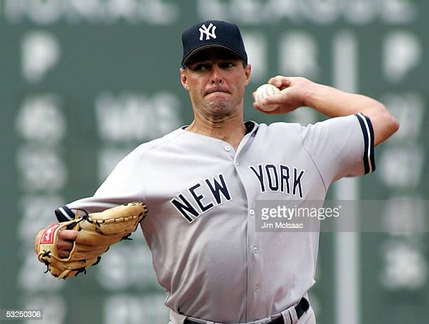Al Leiter of the New York Yankees pitches against the Boston Red Sox during their game at Fenway Park on July 17 2005 in Boston Massachusetts