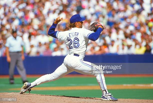 Al Leiter of the Toronto Blue Jays pitches during an Major League Baseball game circa 1993 at Exhibition Stadium in Toronto Ontario Leiter played for...