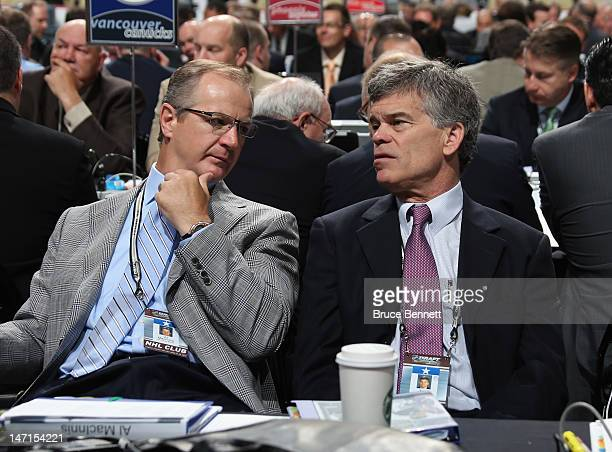 Al MacInnis and Team Owner Tom Stillman of the St Louis Blues attend day two of the 2012 NHL Entry Draft at Consol Energy Center on June 23 2012 in...