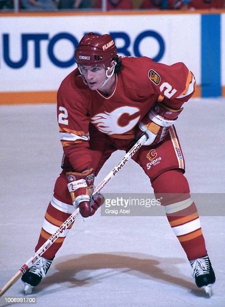 Al MacInnis of the Calgary Flames skates against the Toronto Maple Leafs during NHL game action January 13 1990 at Maple Leaf Gardens in Toronto...