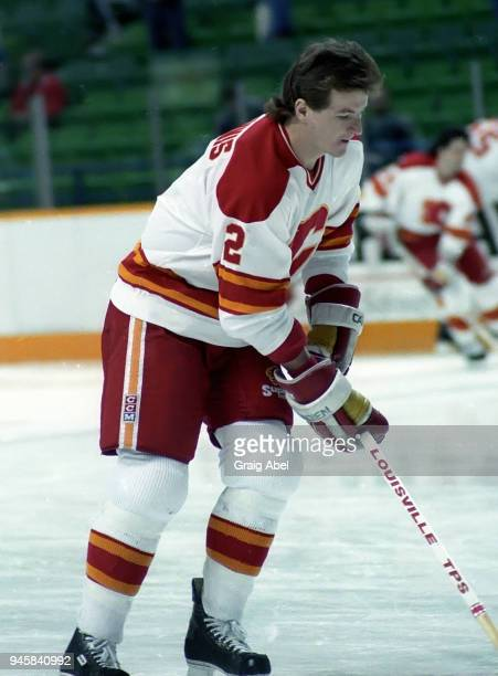 Al MacInnis of the Calgary Flames skates against the Toronto Maple Leafs during NHL game action on February 22 1989 at the Olympic Saddledome in...