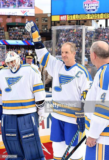 Al MacInnis of the St Louis Blues is introduced prior to the 2017 Bridgestone NHL Winter Classic Alumni Game at Busch Stadium on December 31 2016 in...