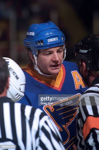 Al MacInnis of the St Louis Blues skates against the Toronto Maple Leafs during NHL game action on November 28 1995 at Maple Leaf Gardens in Toronto...