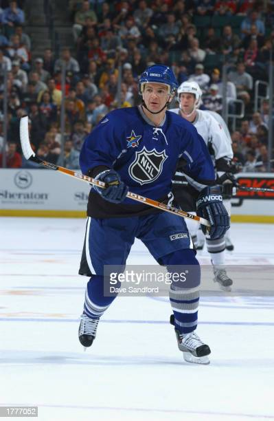 Al MacInnis of the Western Conference All-Stars skates against the Eastern Conference All-Stars in the first period during the 53rd NHL All-Star game...