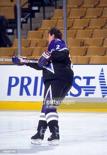 Al MacInnis of the Western Conference and the St Louis Blues skates on the ice during warmsup before the 1996 46th NHL AllStar Game against the...