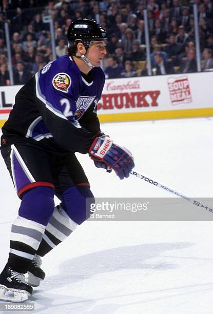 Al MacInnis of the Western Conference and the St Louis Blues skates on the ice during the 1996 46th NHL AllStar Game against the Eastern Conference...