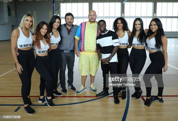 Al Madrigal Fat Joe and Kevin Hart pose with Pitbull's dance squad 'The Most Bad Ones' at SLAM Miami Charter School to promote the film 'Night...