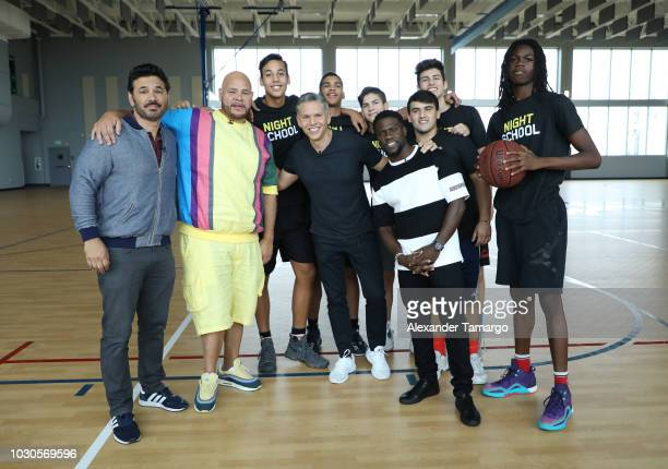 Al Madrigal Fat Joe Rodner Figueroa and Kevin Hart are seen at SLAM Miami Charter School to promote the film 'Night School' on September 10 2018 in...