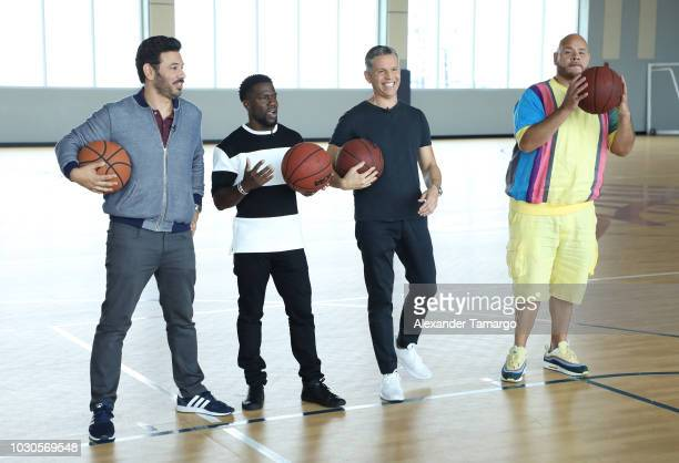 Al Madrigal Kevin Hart Rodner Figueroa and Fat Joe are seen at SLAM Miami Charter School to promote the film 'Night School' on September 10 2018 in...