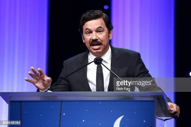Al Madrigal speaks onstage during the CASA Of Los Angeles' 2018 Evening To Foster Dreams Galaat The Beverly Hilton Hotel on April 18 2018 in Beverly...