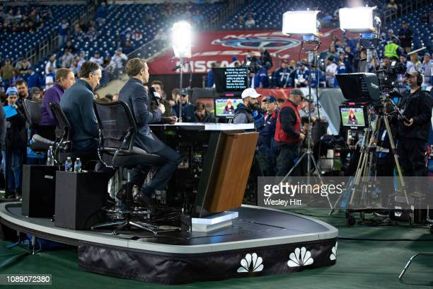 Al Michaels and Cris Collinsworth on stage before a game between the Indianapolis Colts and the Tennessee Titans at Nissan Stadium on December 30...