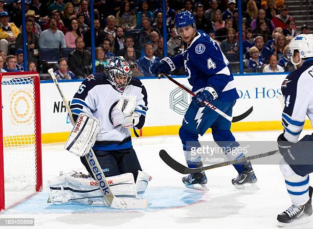 Al Montoya of the Winnipeg Jets defends the goal during the third period of the game against the Tampa Bay Lightning at the Tampa Bay Times Forum on...
