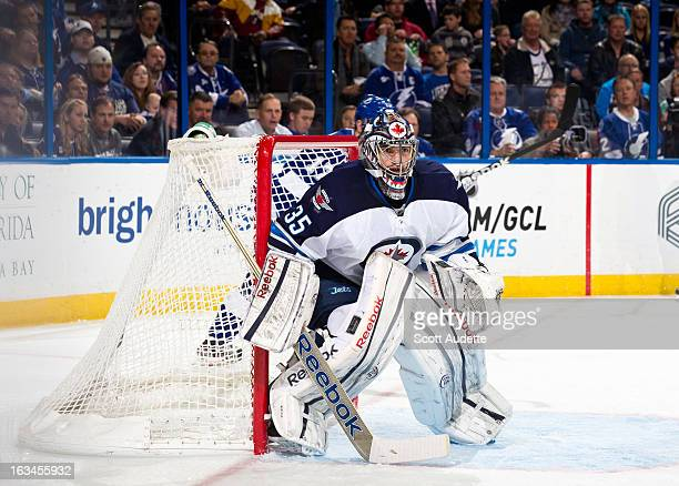 Al Montoya of the Winnipeg Jets guards the goal during the game against the Tampa Bay Lightning at the Tampa Bay Times Forum on March 7 2013 in Tampa...