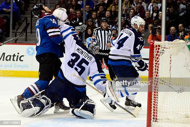 Al Montoya of the Winnipeg Jets hits Ryan O'Reilly of the Colorado Avalanche during the third period of action The Colorado Avalanche lost 21 to the...