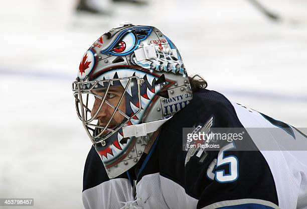 Al Montoya of the Winnipeg Jets looks on during warmups prior to his game against the Philadelphia Flyers on November 29 2013 at the Wells Fargo...