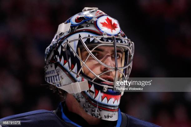 Al Montoya of the Winnipeg Jets skates during the NHL game against the Montreal Canadiens at the Bell Centre on February 2 2014 in Montreal Quebec...