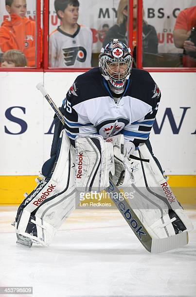 Al Montoya of the Winnipeg Jets warms up prior to his game against the Philadelphia Flyers on November 29 2013 at the Wells Fargo Center in...