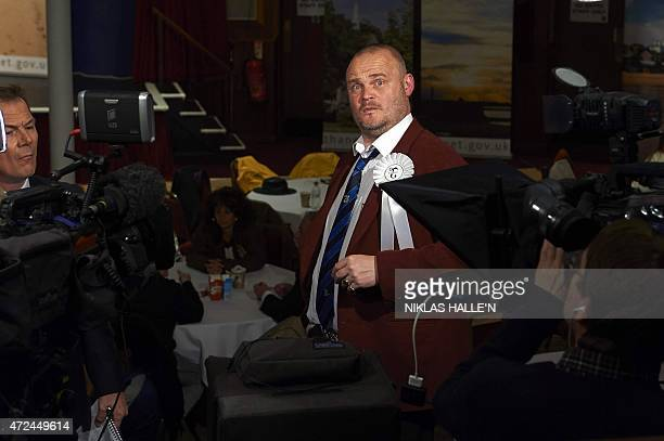 Al Murray British comedian and candidate for the Free United Kingdom Party gives an interview at a counting centre in Margate southeast England on...