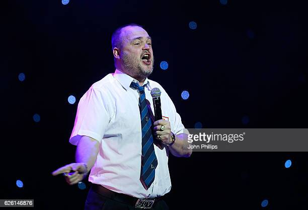 Al Murray performs on stage during Absolute Radio Live in aid of Macmillan Cancer Support at the London Palladium on November 27 2016 in London...