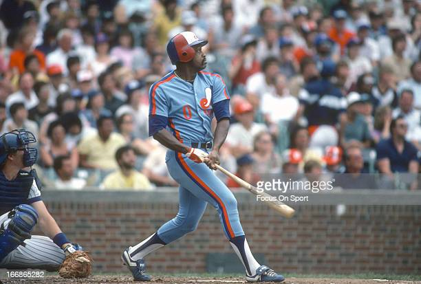 Al Oliver of the Montreal Expos bats against the Chicago Cubs during an Major League Baseball game circa 1983 at Wrigley Field in Chicago Illinois...