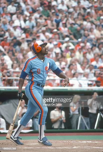 Al Oliver of the Montreal Expos bats against the Philadelphia Phillies during an Major League Baseball game circa 1982 at Veterans Stadium in...
