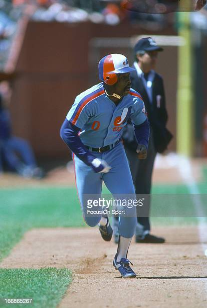 Al Oliver of the Montreal Expos runs the bases against the San Francisco Giants during an Major League Baseball game circa 1982 at Candlestick Park...