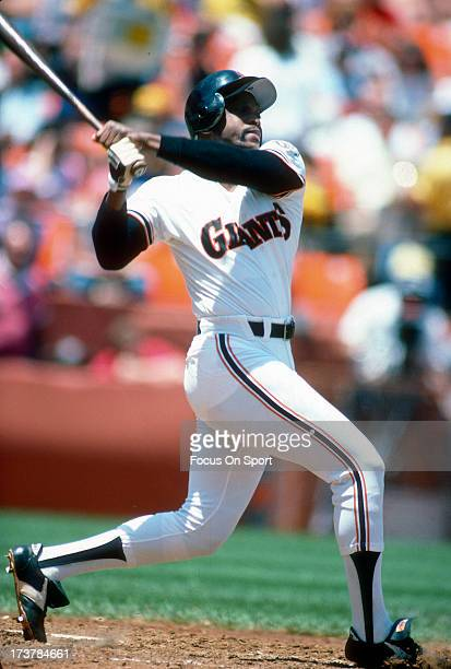 Al Oliver of the San Francisco Giants bats during an Major League Baseball game circa 1987 at Candlestick Park in San Francisco California Oliver...