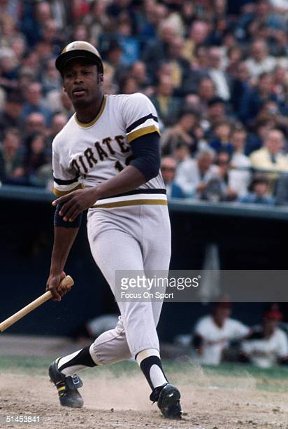 Al Oliver outfielder for the Pittsburgh Pirates swings hard during the World Series against the Baltimore Orioles at Memorial Stadium on October 1971...