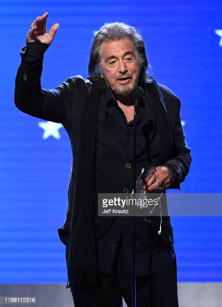Al Pacino accepts the Best Acting Ensemble award for 'The Irishman' onstage during the 25th Annual Critics' Choice Awards at Barker Hangar on January...