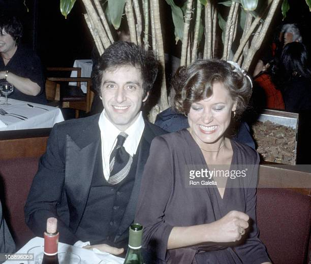 Al Pacino and Christine Lahti during 'And Justice For All' Opening Benefit Party October 161979 at American Charcuterie Restaurant in New York City...