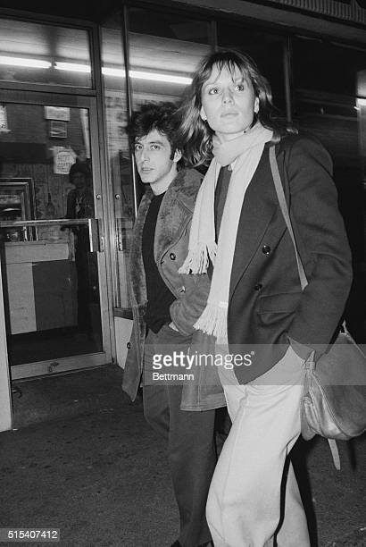Al Pacino and his steady girl friend Swiss actress Marthe Keller leave the Longacre Theatre here 4/23 Pacino's show The Basic Training of Pavlo...