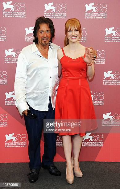 Al Pacino and Jessica Chastain attend the Jaeger LeCoultre Glory To The Filmmaker Award and Wild Salome Photocall during the 68th Venice...