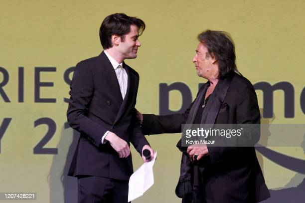 Al Pacino and Logan Lerman pose onstage during the World Premiere Of Amazon Original Hunters at DGA Theater on February 19 2020 in Los Angeles...