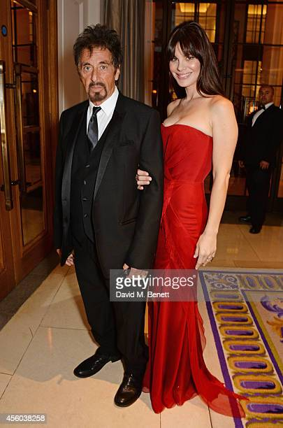 Al Pacino and Lucila Sola attend the Al Pacino BFI Fellowship Dinner supported by Moet Chandon at the Corinthia Hotel London on September 24 2014 in...