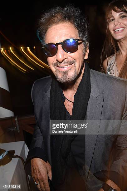 Al Pacino and Lucila Sola attend the Exclusive Dinner hosted by Andrea Iervolino and Monika Bacardi during the 71st Venice Film Festival on August 29...