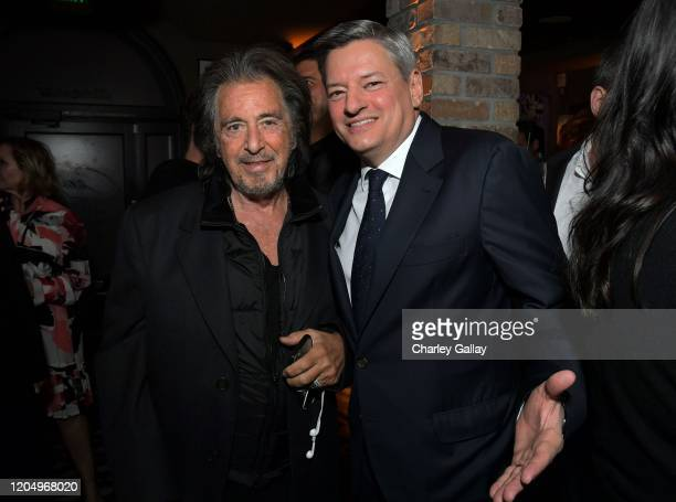 Al Pacino and Netflix Chief Content Officer Ted Sarandos attend Ted's 2020 Oscar Nominee Toast at Craig's on February 08 2020 in West Hollywood...