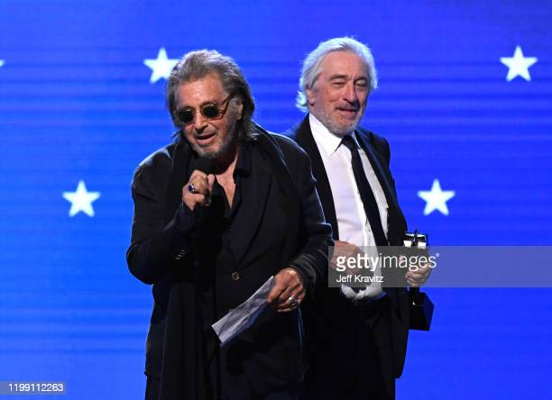Al Pacino and Robert De Niro accept the Best Acting Ensemble award for 'The Irishman' onstage during the 25th Annual Critics' Choice Awards at Barker...