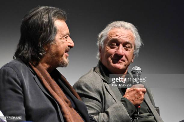 Al Pacino and Robert De Niro at The Irishman press conference during the 57th New York Film Festival at Alice Tully Hall Lincoln Center on September...