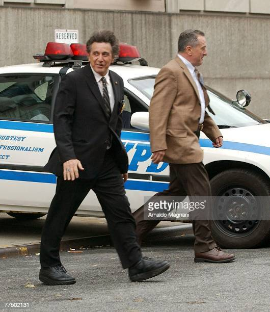Al Pacino and Robert De Niro on the set of the new movie ''Righteous Kill'' on October 25 2007 in New York City