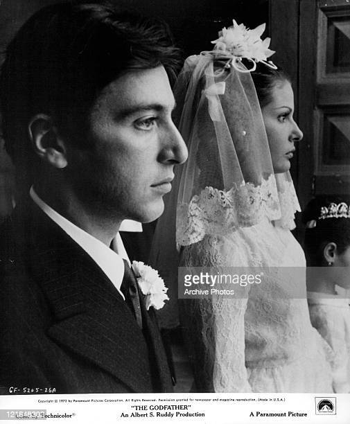 Al Pacino and Simonetta Stefanelli getting married in a scene from the film 'The Godfather' 1972