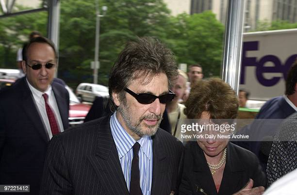 Al Pacino arrives at Manhattan Family Court for a hearing in a child custody battle with former lover Beverly D'Angelo over their 2yearold twins...
