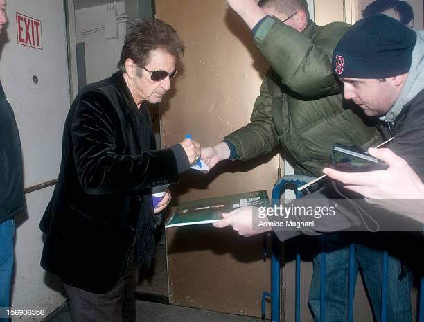 Al Pacino arriving at his broadway play Glengarry Glen Ross on November 24 2012 in New York City