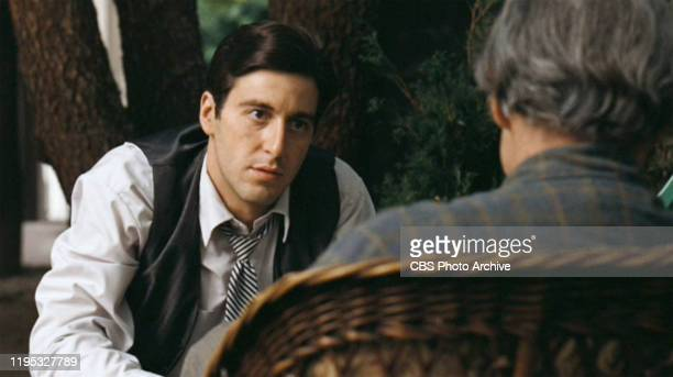 Al Pacino as Michael Corleone and Marlon Brando as Don Vito Corleone in 'The Godfather ' the movie based on the novel by Mario Puzo and directed by...