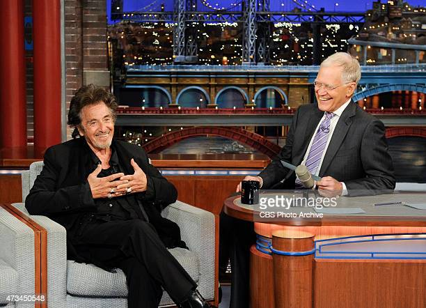 Al Pacino makes a surprise appearance to help Dave read the Top Ten List on the Late Show with David Letterman Thursday May 14 2015 on the CBS...