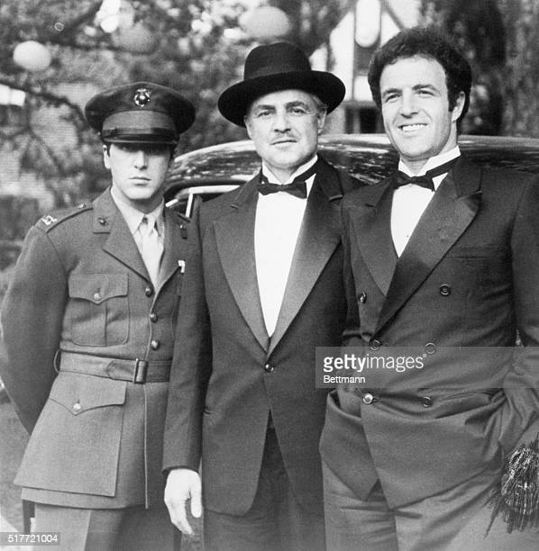 Al Pacino Marlon Brando and James Caan in costume for the opening scene of The Godfather